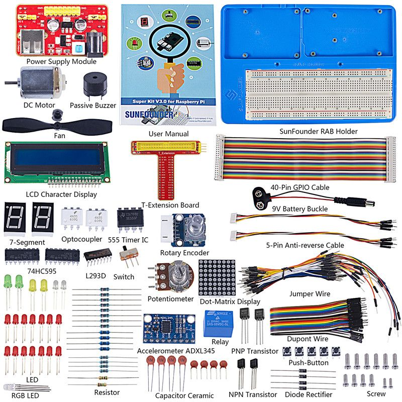 SunFounder Super Starter Learning Kit V3.0 for Raspberry Pi 3 Model B+ 3B, 2B B+ A+ Zero and 123-Page Instructions <font><b>Book</b></font>
