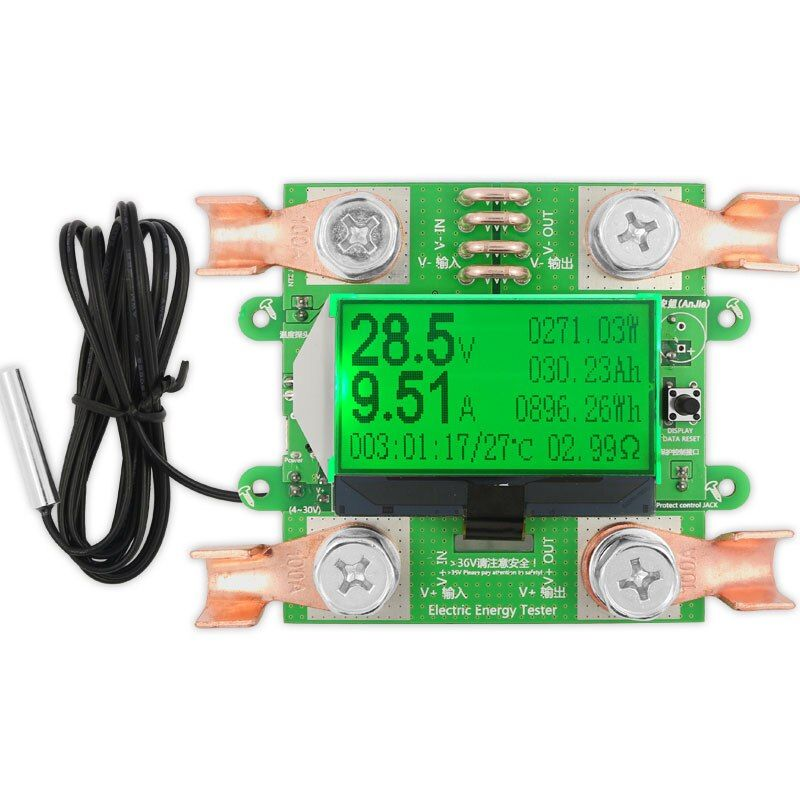 300V 100A DC digital voltmeter ammeter voltage meter car battery capacity volt current wattmeter <font><b>detector</b></font> power supply tester