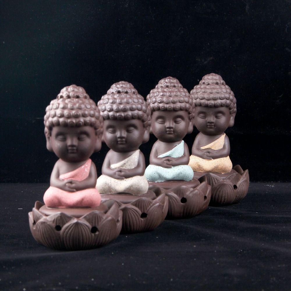 Bouddha statue encens cônes en céramique brûleur d'encens poêle disque brûleur santal bobine d'encens Bouddha ornements maison