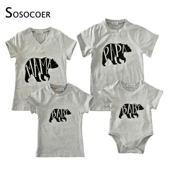 SOSOCOER Family Matching Clothes Mother Daughter Father Baby T Shirt Romper Summer 2017 Cartoon Bear Papa Mama Baby Kids Outfits