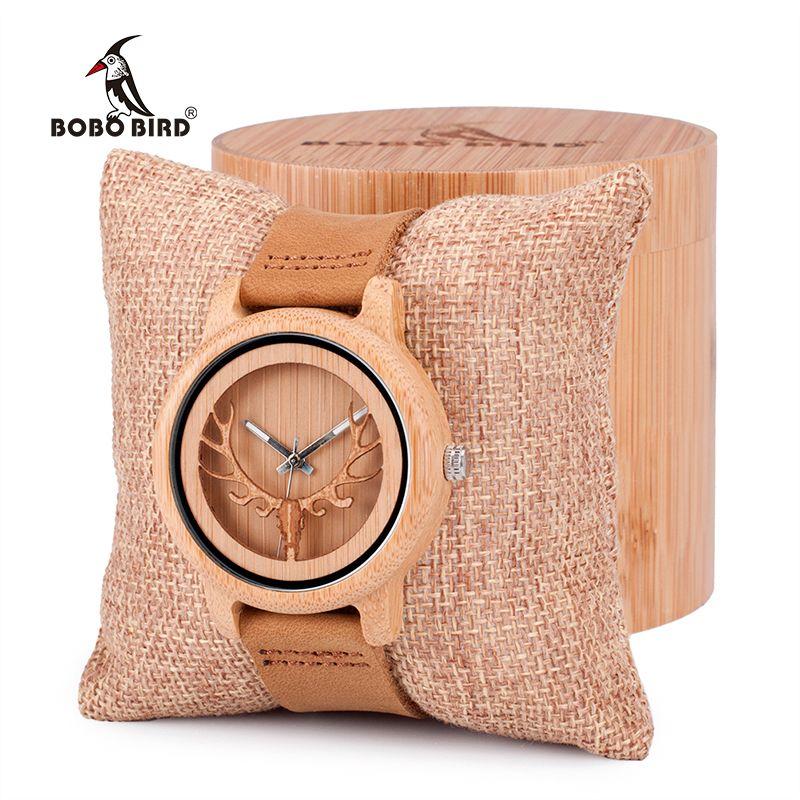 BOBO VOGEL Vintage Hirschkopf Skeleton Design Bambus Holz Armbanduhr Herren Frauen Uhren mit Leder Bands in Uhrenbox