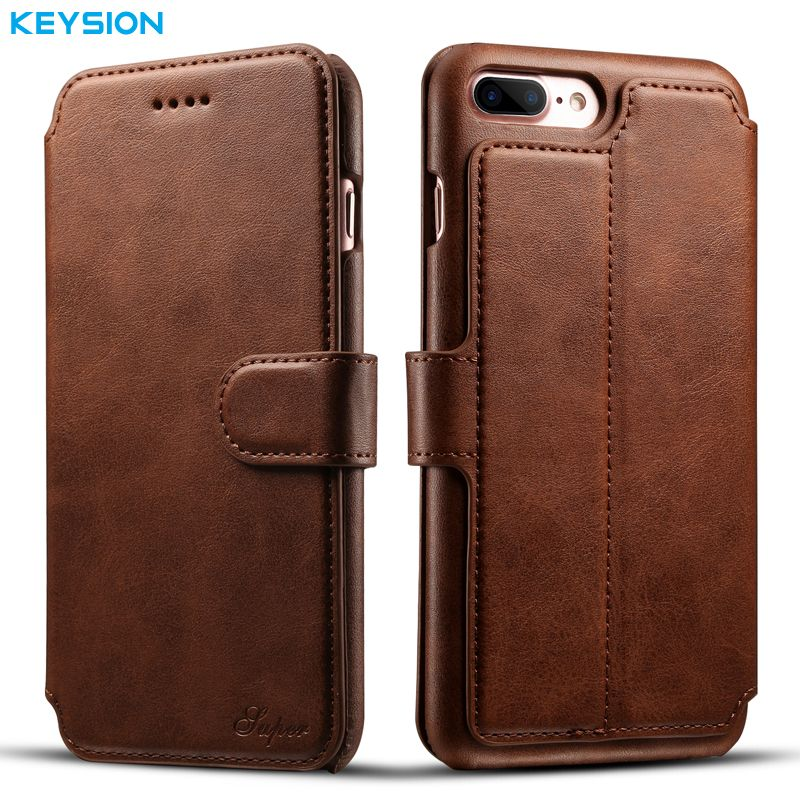 KEYSION Vintage Case For iPhone 8 8 Plus i7 7P PU Leather Wallet Card Slots Flip case Kickstand Back Cover for iPhone7 7Plus i7