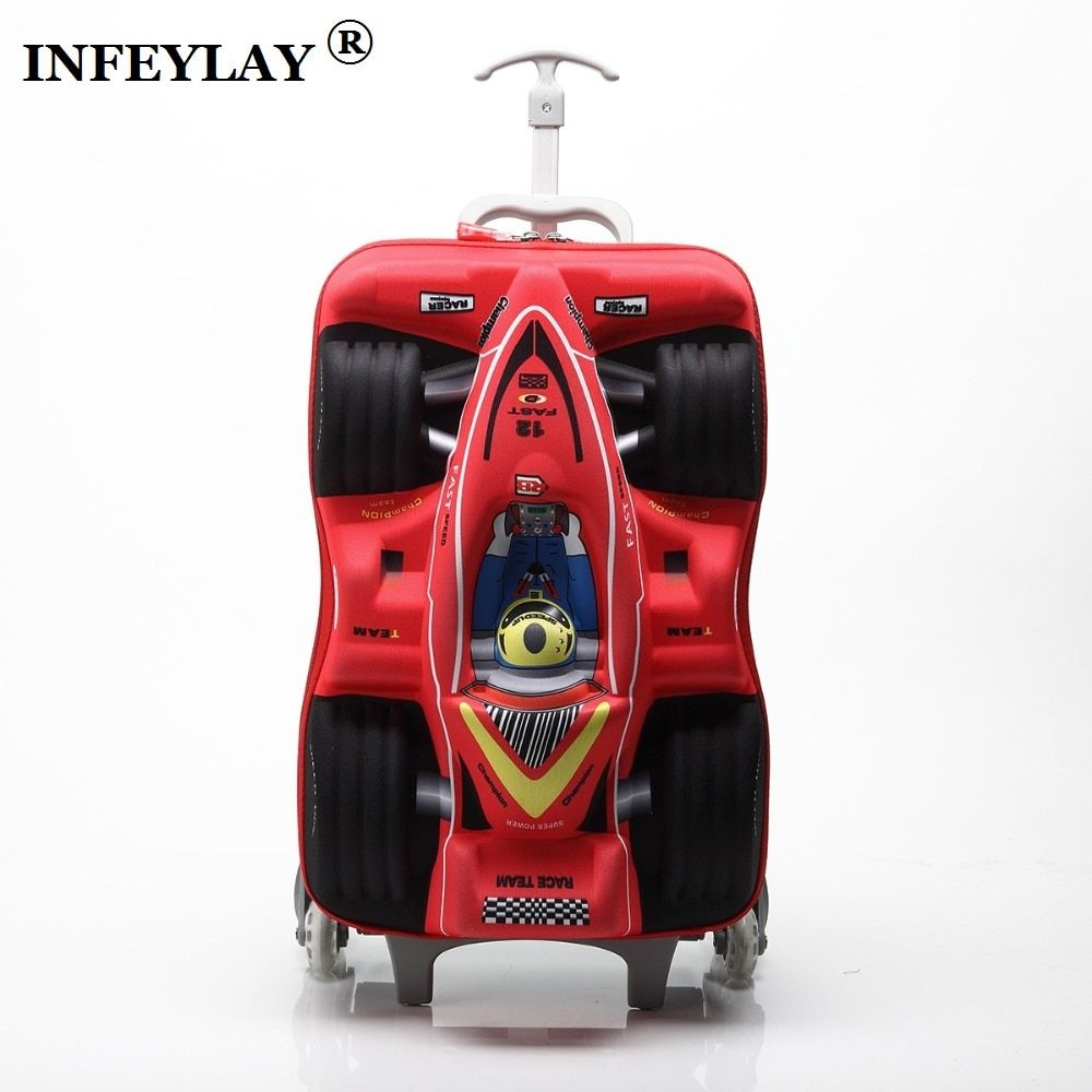 HOT 16 cars 3D extrusion EVA  trolley case boy kids cool Climb stairs luggage suitcase Travel cartoon Boarding box child gift