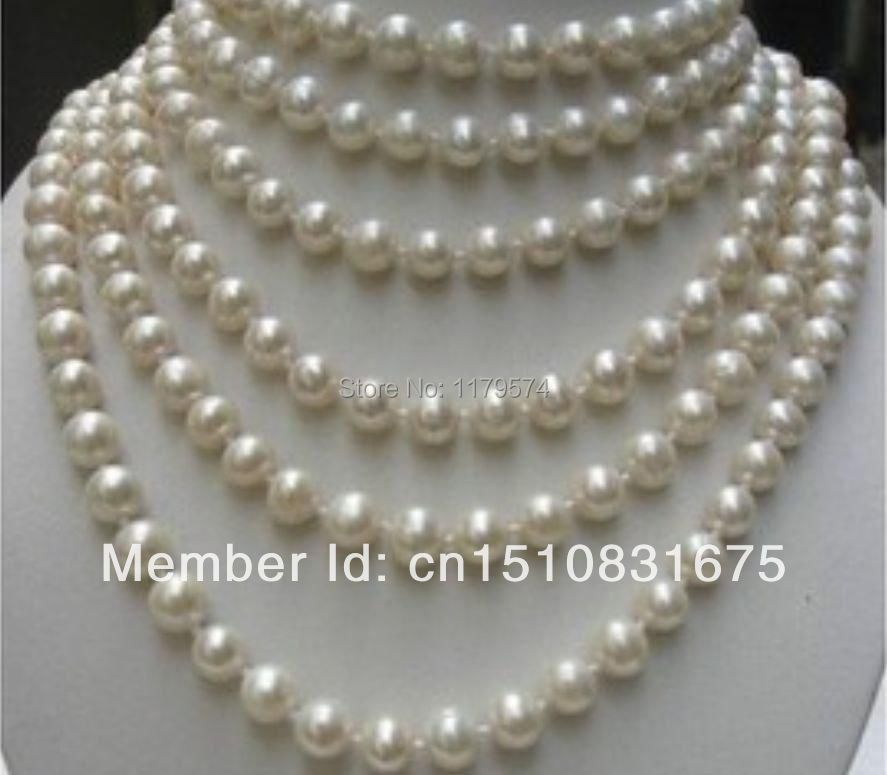 LONG 100 INCHES AA+ 8-9MM WHITE Akoya Cultured PEARL NECKLACExu39