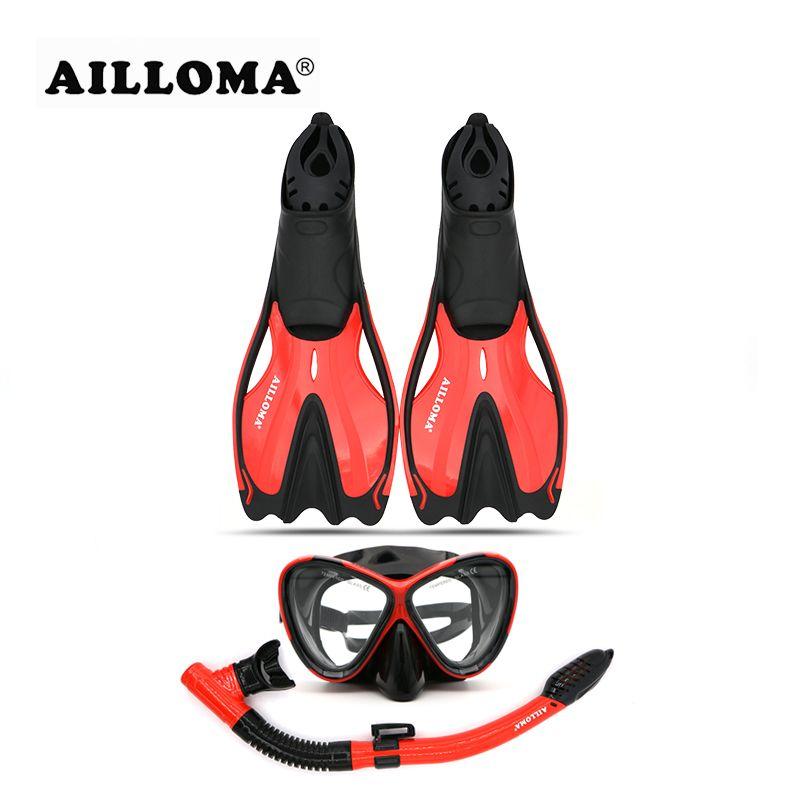 AILLOMA Erwachsene Tauchen Ausrüstung Sets Anti-Nebel Taucher Maske Flossen Brille Voll Trockenen Schnorchel Taucher Atmen Tauchen Rohr flipper
