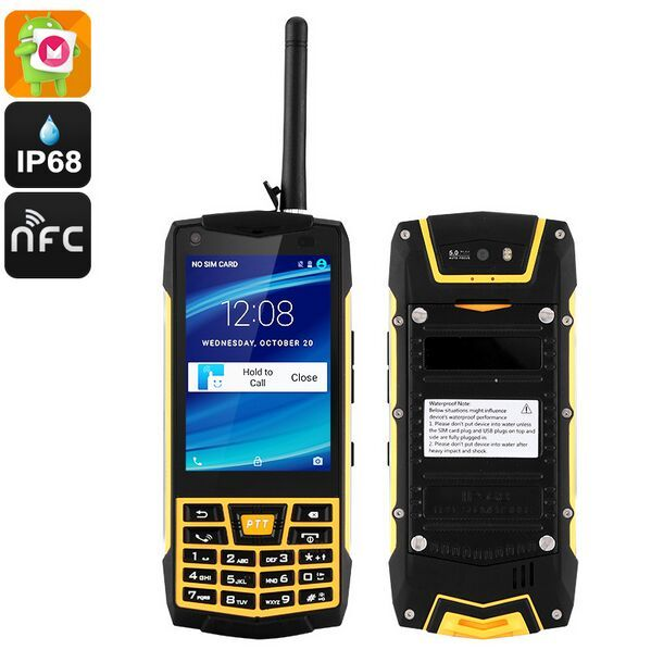Land Rover N2 Android 6.0 Waterproof Smartphone IP68 Walkie Talkie NFC MTK6580 Quad core 1GB RAM 8GB ROM 5MP WCDM mobile phone