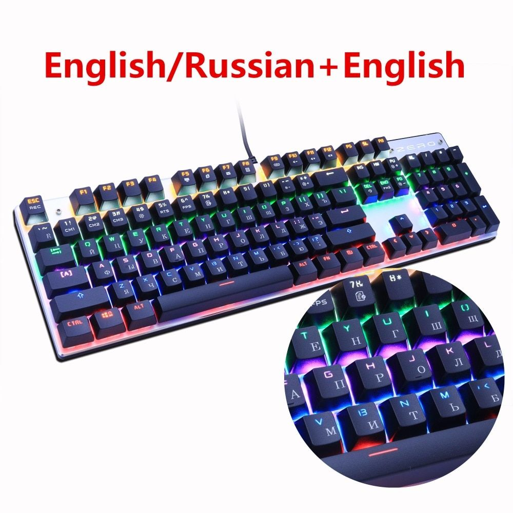 Metoo Gaming Mechanical <font><b>Keyboard</b></font> 87/104 Anti-ghosting Luminous Blue Red Black Switch Backlit LED wired <font><b>Keyboard</b></font> Russian sticker