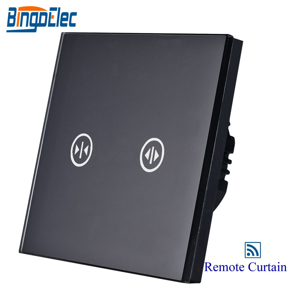 wireless remote roller shutter switch,curtain switch,black glass blind switch,AC110-250V,