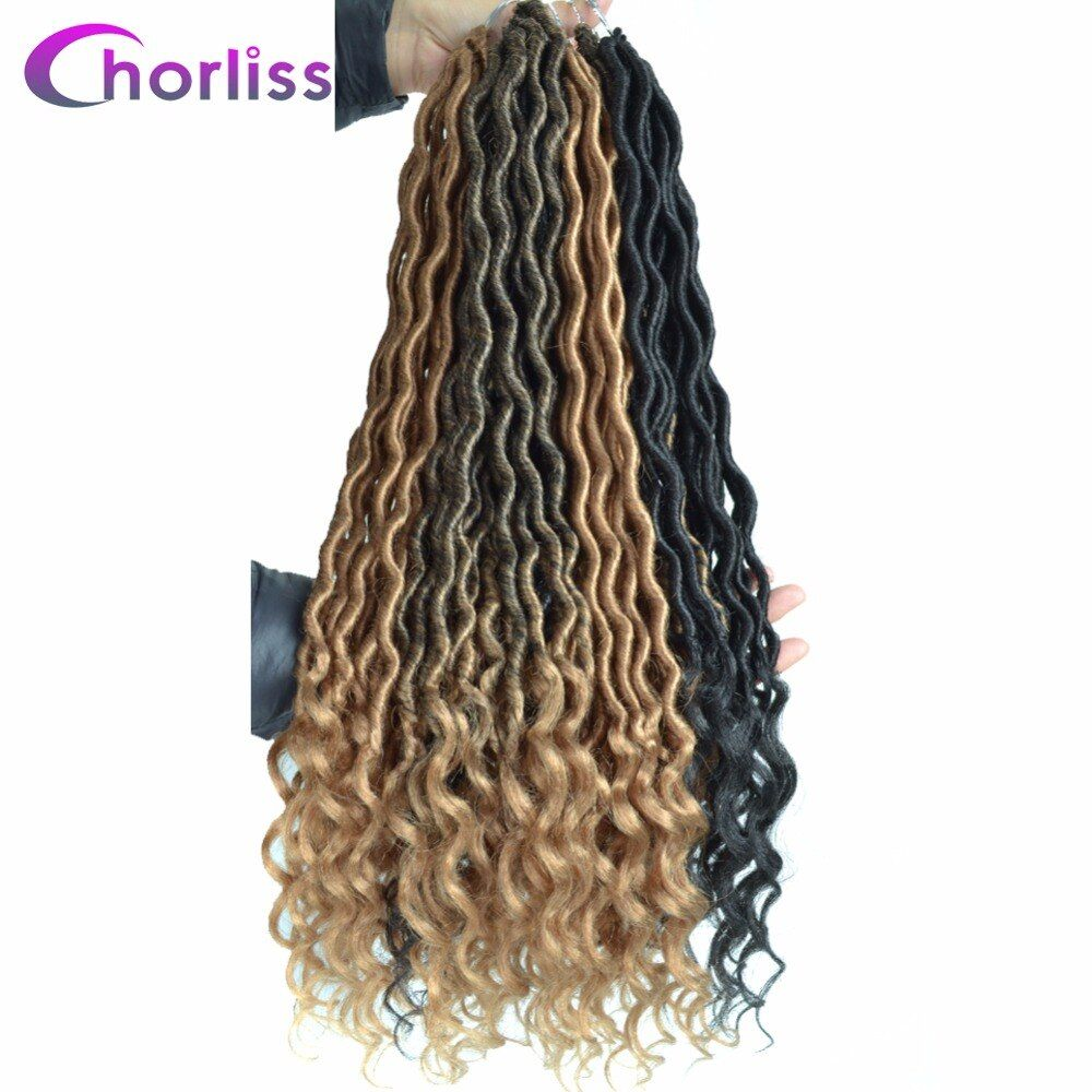 Chorliss 20'' Faux Locs Curly Crochet Braids Synthetic Hair Extensions Crochet Hair Ombre Braiding Black Blonde 24Strands 85g