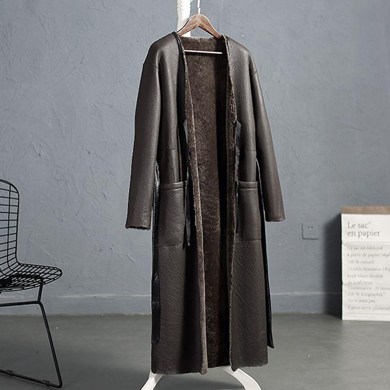 Anderella 2018 New style Turkey Sheep shearing fur coat women both sides to wear X-long wool fur parka Merino sheep fur overcoat