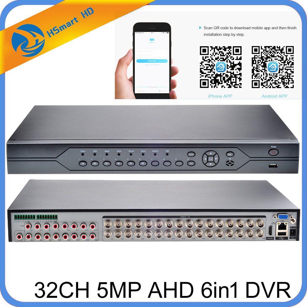 H.265/H.264 32CH 5MP AHD CVI TVI DVR Sicherheit Überwachung Für hk xmeye daha kameras ONVIF IP Kamera Unterstützung audio I/O Alarm I/O