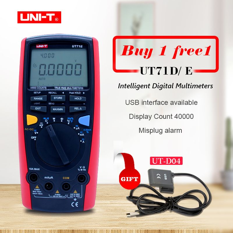 UNI-T UT71A UT71B UT71C UT71D UT71E Digital MultiMeterTure RMS AC DC meter Volt Ampere Ohm Capacitance Temp tester backlight