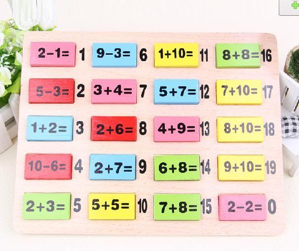 110 PCS Domino Bois Numérique plus soustraction de table Enfants enseignement des mathématiques AIDES, en bois enfants de jouets éducatifs