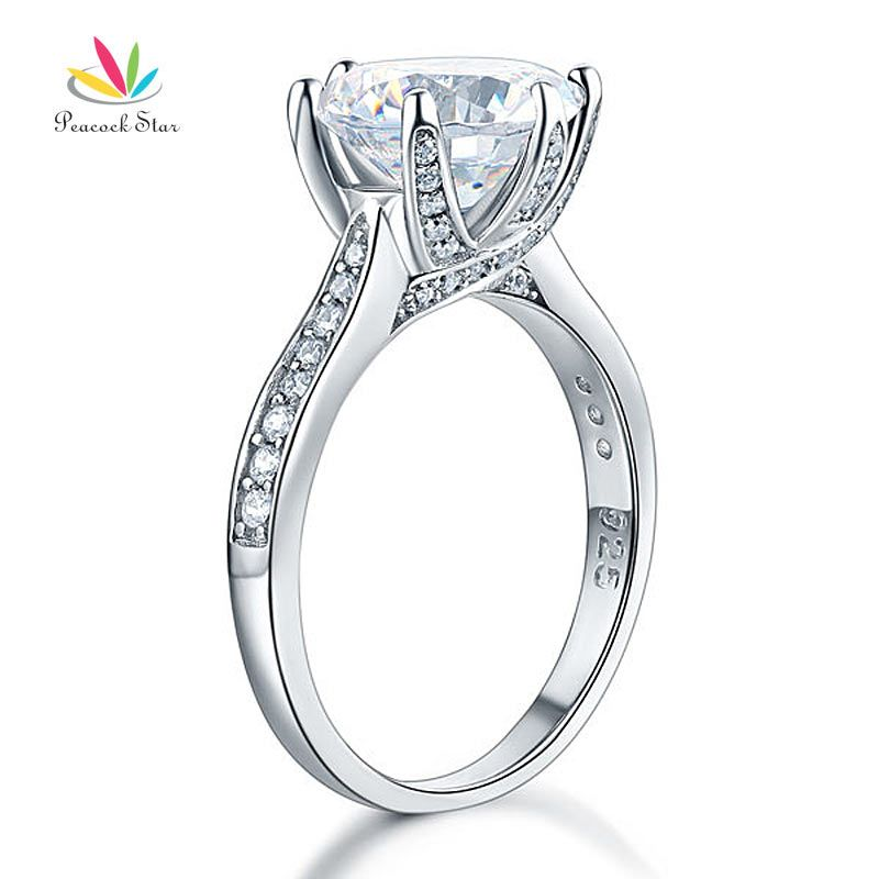 Peacock Star 925 Sterling Silver Luxury Wedding Anniversary Engagement Ring 3 Ct Jewelry CFR8228