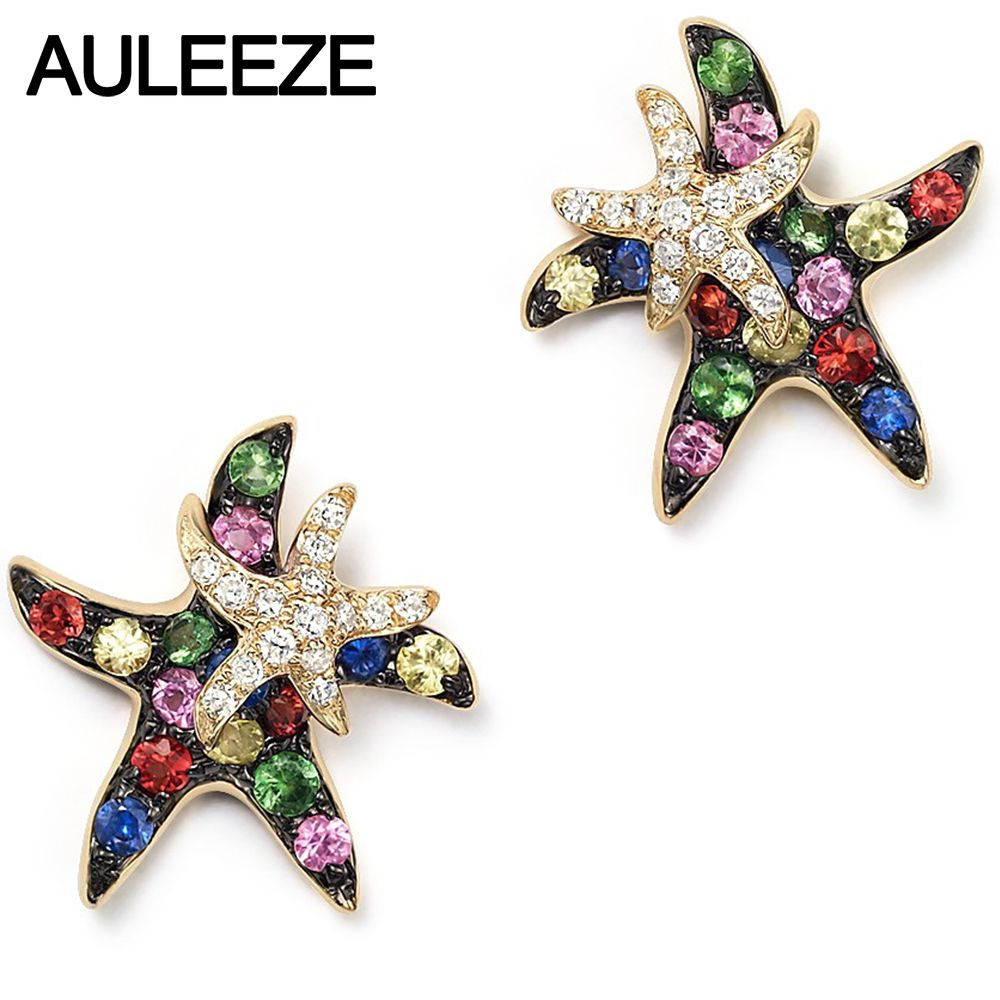 Natürliche Multi Sapphire Echt Diamant Starfish Schöne Ohrringe in 9 K Gelb Gold Stud Ohrringe Für Dame Edelstein Feine Schmuck