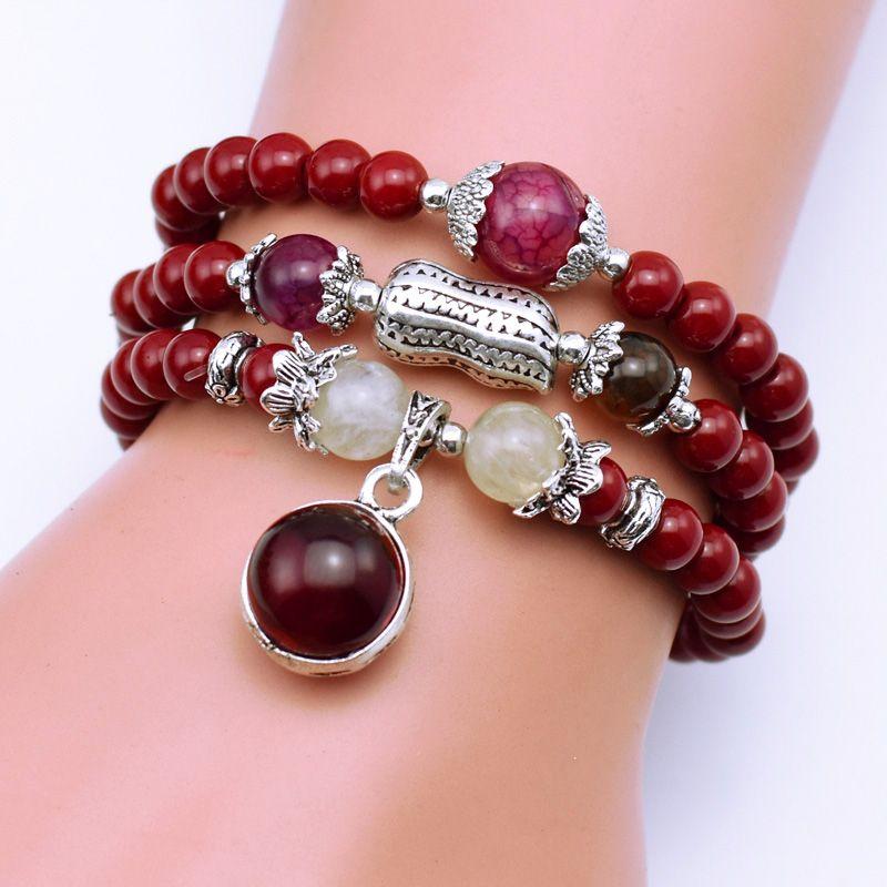 Mode naturelle 6mm perles de pierre rouge tibétain bouddhiste perles de prière collier gourde mala Bracelet de prière pour la méditation
