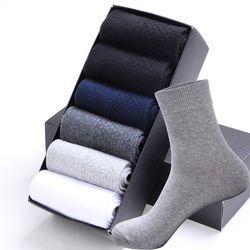 Высокое качество Повседневное Для Мужчин's Бизнес Носки для мужчин Хлопковые фирменные носки экипажа осень-зима черный белый Носки для Мужч...