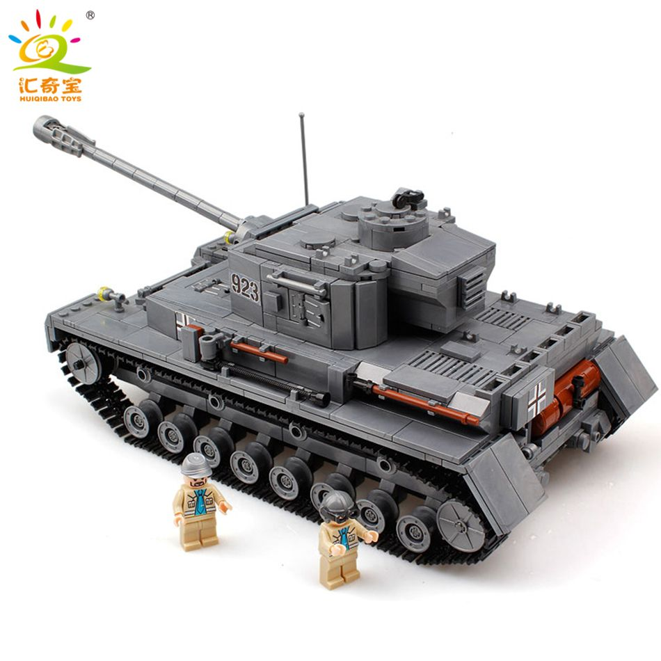 Military 923 PZKPFW-IV War Tank Model With Germany Soldiers Building Blocks Sets Compatible Legoed Army ww2 Toys For Children