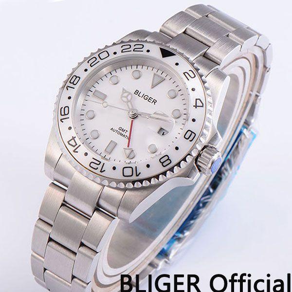 Luxus 40mm BLIGER saphirglas keramik lünette weißes zifferblatt super leucht GMT Automatische bewegung herrenuhr armbanduhr B191