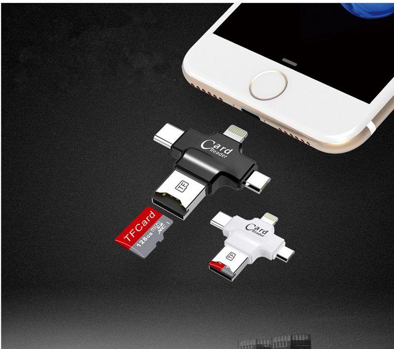 4 en 1 Éclairage + USB Mobile Lecteur Flash Pour Type c/Samsung/TF carte/iPhone 7 Plus 6 s 5S ipad 4 ipad Foudre à Drive U Disque