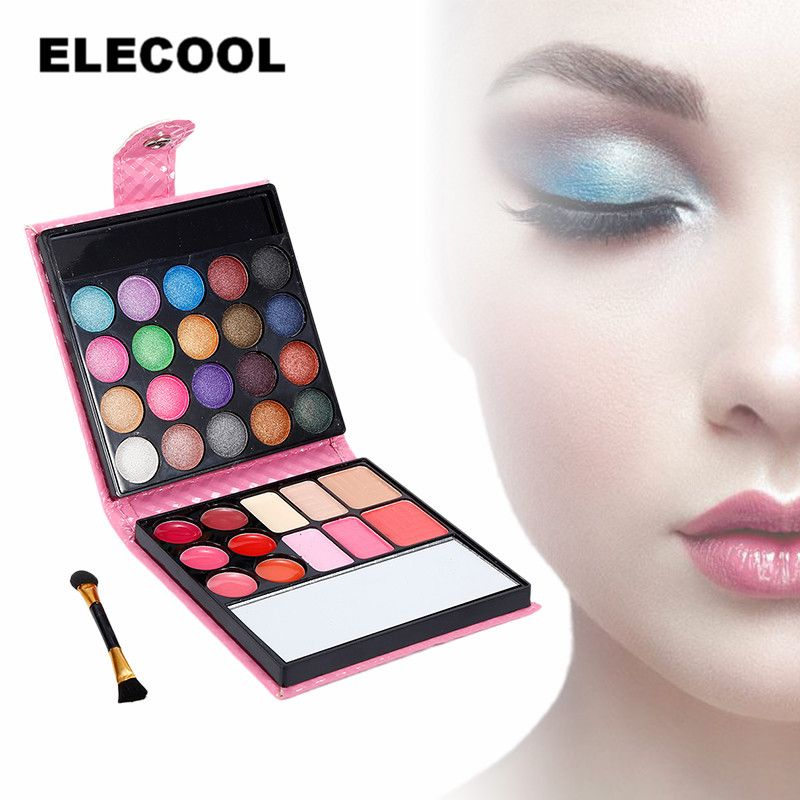 ELECOOL Pro 32 Colors Makeup Eyeshadow Palette Fashion Face Eye Lips Make Up Kit With Brush and Case Cosmetics Women Oogschaduw