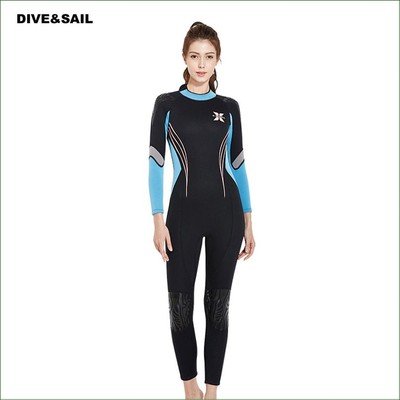 WDS03 New Model Diving Suit 3mm Neoprene Women spearfishing Wetsuit Surf snorkel swimsuit One piece long sleeved Swimwears