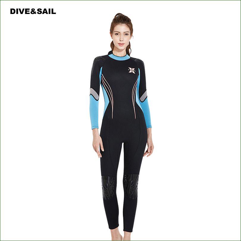 WDS03 New Model Diving Suit 3mm Neoprene Women spearfishing Wetsuit Surf snorkel swimsuit One piece long sleeved Swimwears