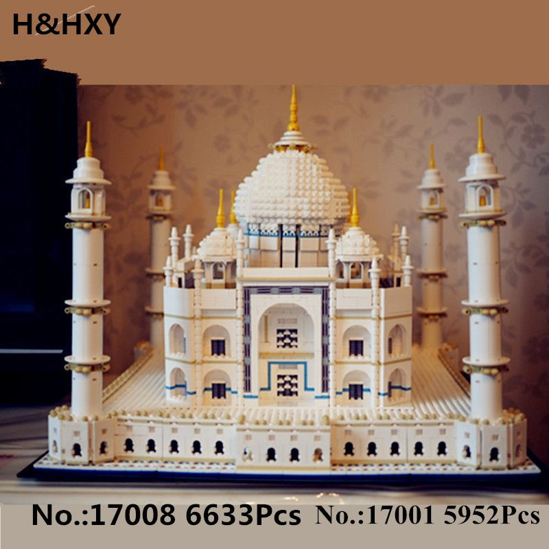 H&HXY IN STOCK New 17001 5952pcs 17008 6633 pcs The taj mahal Model LEPIN Building Kits Brick Toys 10189 Christmas Gift