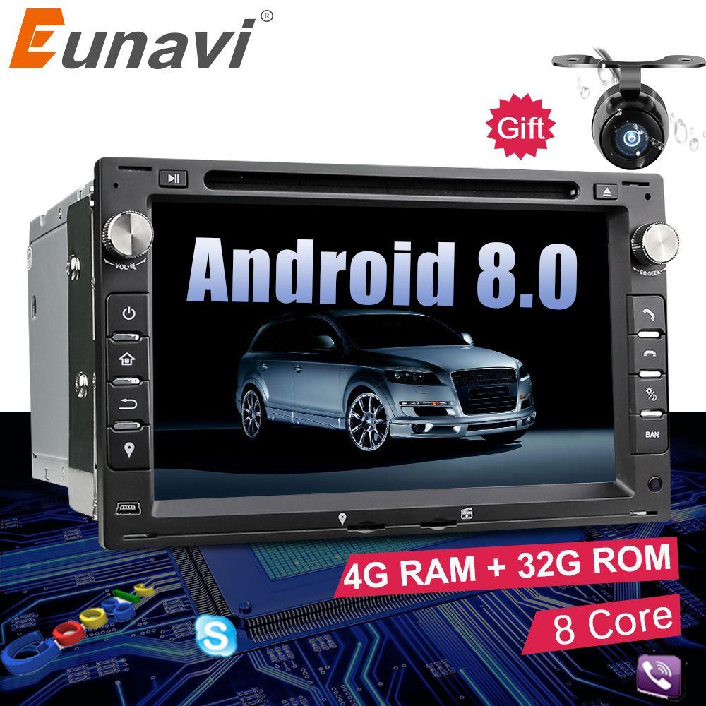 Eunavi Octa Core 4GB RAM 2 din Android 8.0 7'' Car DVD GPS Navi For VW Glof Bora Passat Mk5 Golf Mk4 Polo Jetta Seat Peugeot 307