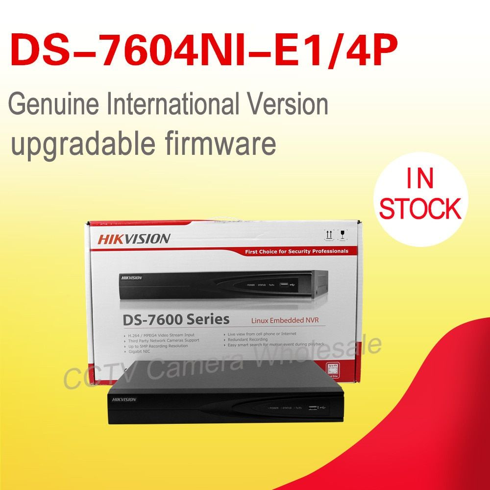 In stock 4CH NVR for ip camera 1 SATA  4 POE interfaces NVR DS-7604NI-E1/4P