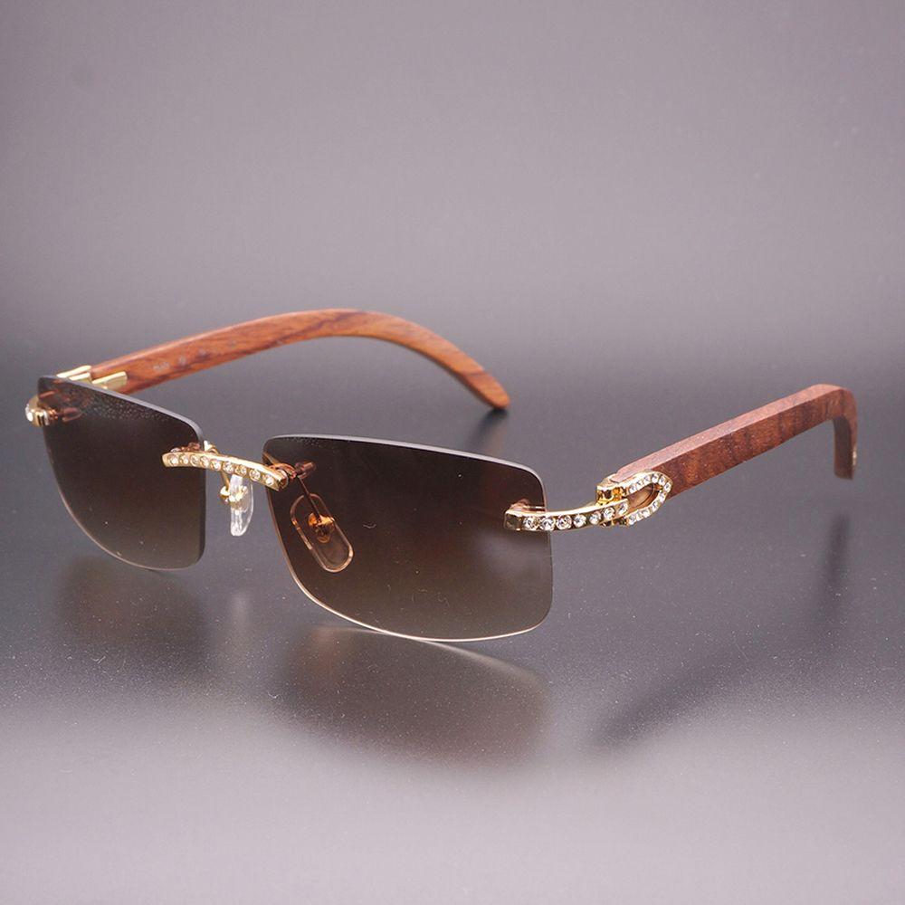 Luxus Strass Schwarz Mix White Buffalo Horn Randlose Sonnenbrille Männer Holz Sonnenbrille Retro Shades Klassische Brillen 012