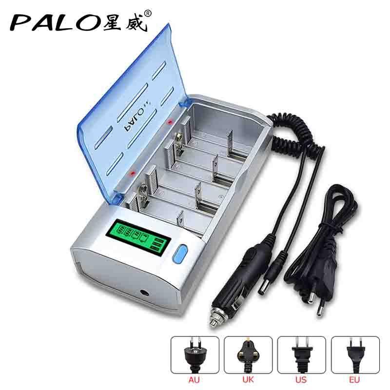 Chargeur intelligent de batterie d'affichage à cristaux liquides de PALO pour la batterie rechargeable de Ni-MH ni-cd AA/AAA/SC/C/D/9 V avec la ligne de remplissage de voiture