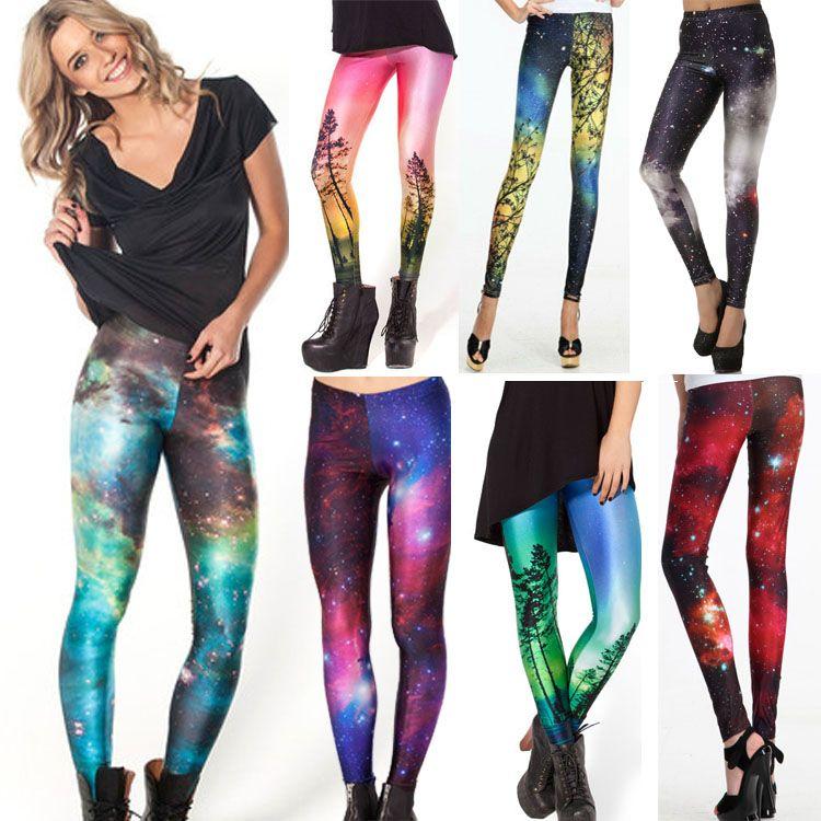 Femmes univers coloré Leggings galaxie espace peint pantalon élasticité mode séchage rapide Capris livraison directe