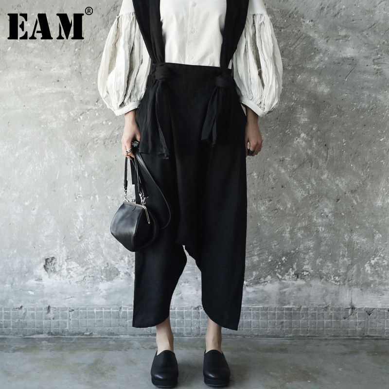[EAM] 2018 New Autumn winter Temperament Strapless Two Pocket Wide Leg Pants Women Trousers Fashion Tide All-match JE82201S