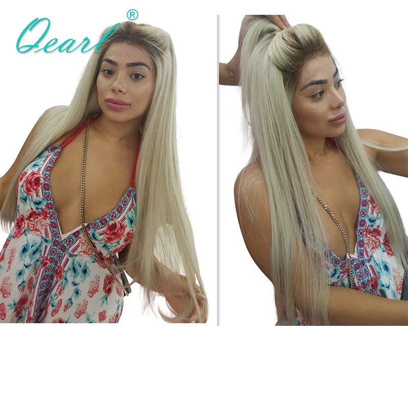 Qearl 4#/60# Ombre Blonde Glueless Lace Front Wigs Silky Straight Real Human Hair Lace Wigs Brazilian Remy Hair for White women