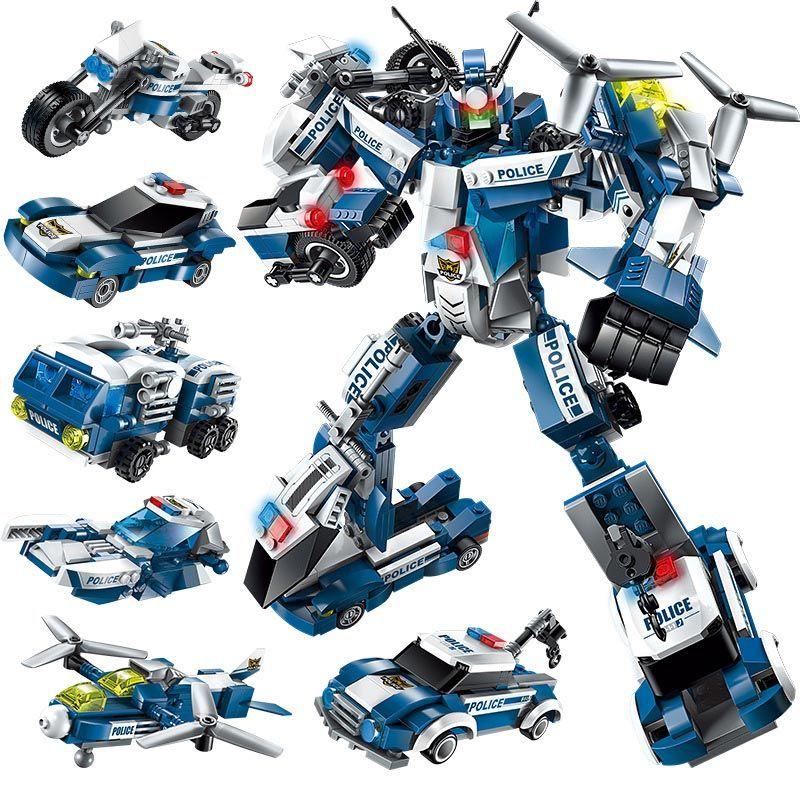 Enlighten 577pcs 6in1 Police The War Generals Robot Car Plane Moto Boat Legoings Building Block Brick Toys For Children Gifts