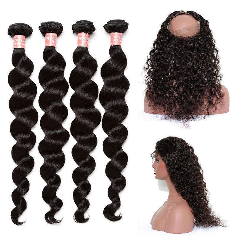 4 Brazilian Hair Weave Bundles With 360 Lace Frontal Closure Loose Wave Human Hair Bundles With Closure 5Pcs Honey Queen Remy