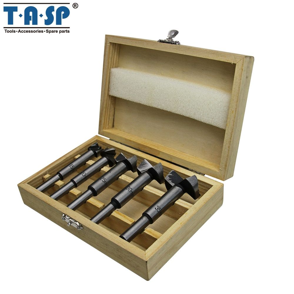 TASP 5pcs Wood Drilling Forstner Drill Bit Self-Centering Hole Saw Cutter Set Woodworking Tools -MDBK009