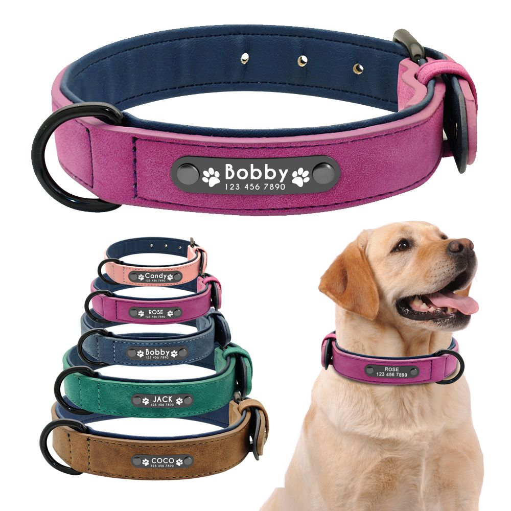 Personalized Dog Collar Custom Leather Dog Collars Inner Padded Pet ID Collar For Small Medium Large Dogs Pitbull Bulldog