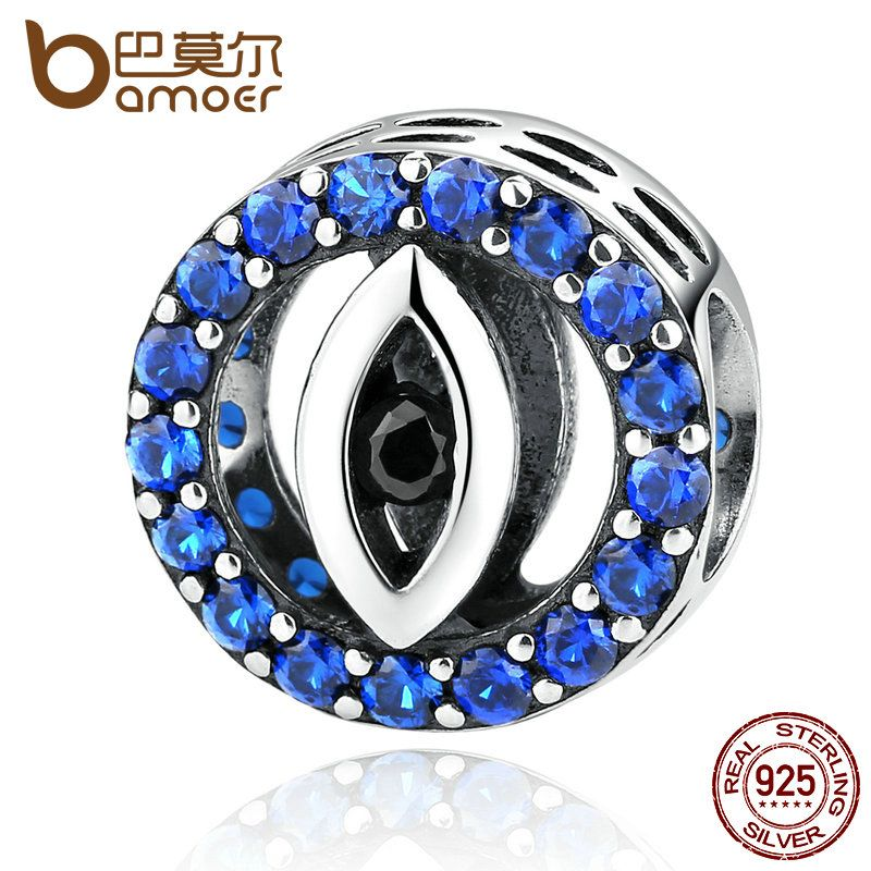 BAMOER Fashion Jewelry 925 Sterling Silver Blue Eyes Zirconia Bead Charms Fit Women Bracelets & Bangles Jewelry SCC091