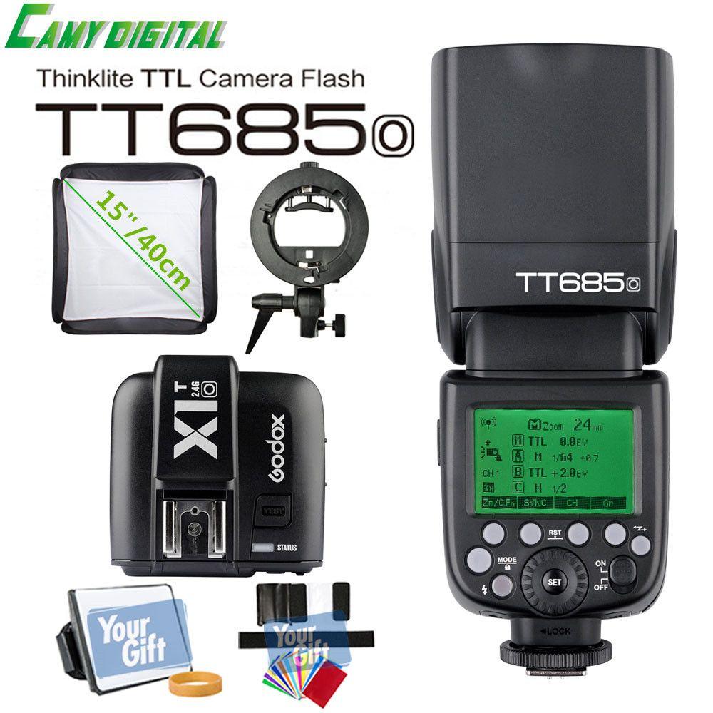 Godox TTL II GN60 HSS 1/8000s 2.4G Wireless Speedlite TT685O+X1T-O+S-Type Bracket+SoftBox (40cm/50cm) Kit For Olympus/Panasonic