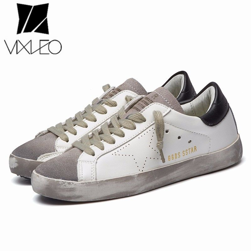 VIXLEO Italy Designer Golden pu leather Casual Men trainers super Star dirty Goose Shoes Footwear Zapatillas basket femme 36-44
