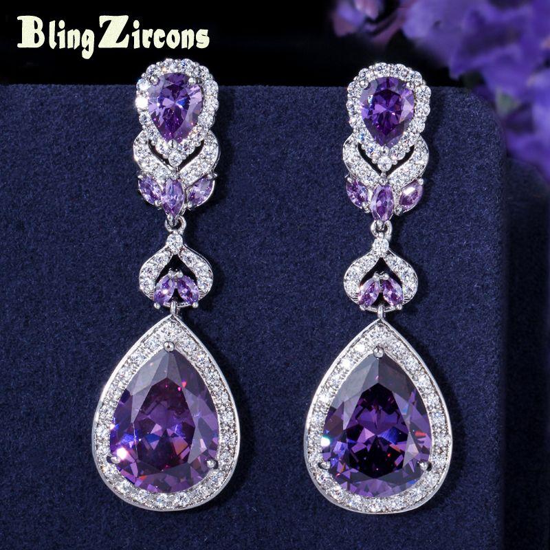 BeaQueen européen américain luxe violet cristal boucles d'oreilles poire coupe longue goutte femmes de mariage boucle d'oreille avec zircon cubique E024