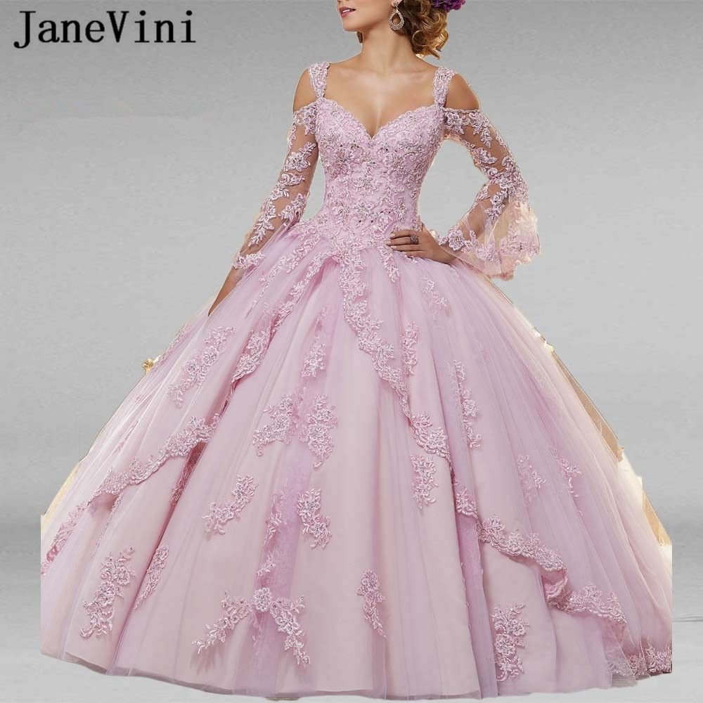 JaneVini 2019 Elegante Ballkleid Rosa Quinceanera Kleider Puffy Lange Hülse Appliques Perlen Prinzessin Prom Kleider Vestidos 15 Anos