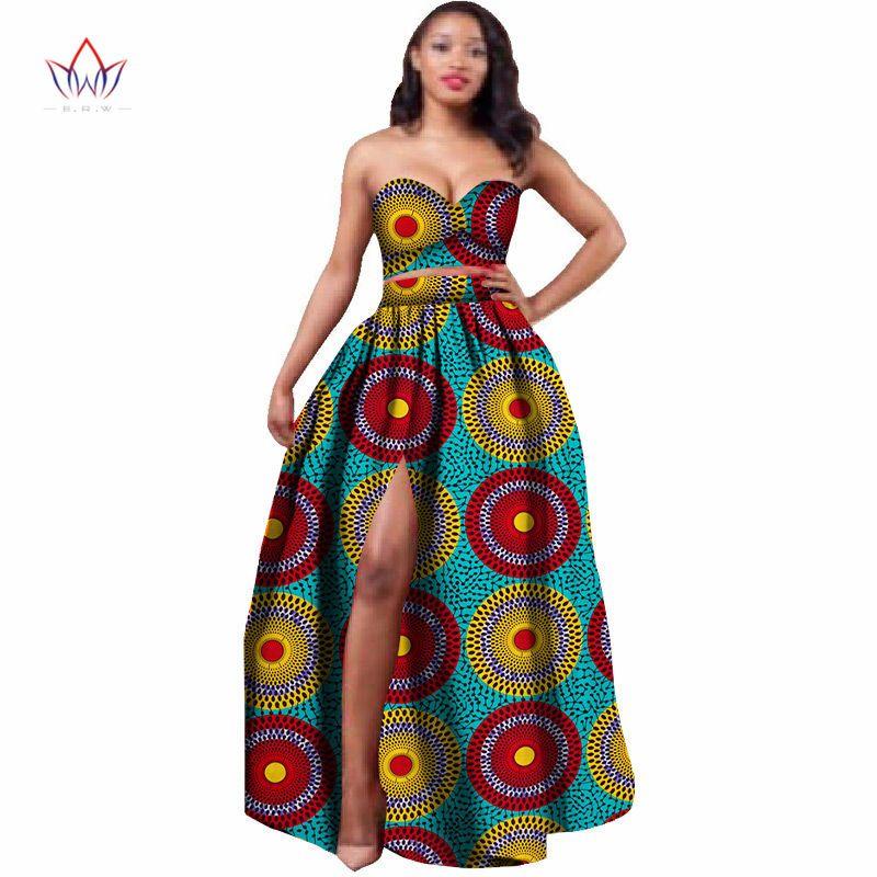 2019 vêtements africains Dashiki pour les femmes Bazin Riche haut court et jupe ensemble 2 pièces vêtements traditionnels africains grande taille WY506