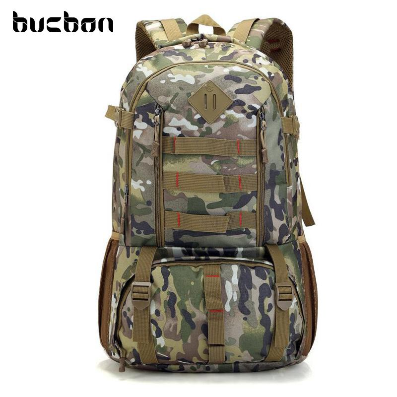 Bucbon Camo Tactical Backpack Military Army Mochila 50L Waterproof Hiking Hunting Backpack <font><b>Tourist</b></font> Rucksack Sports Bag HAB037