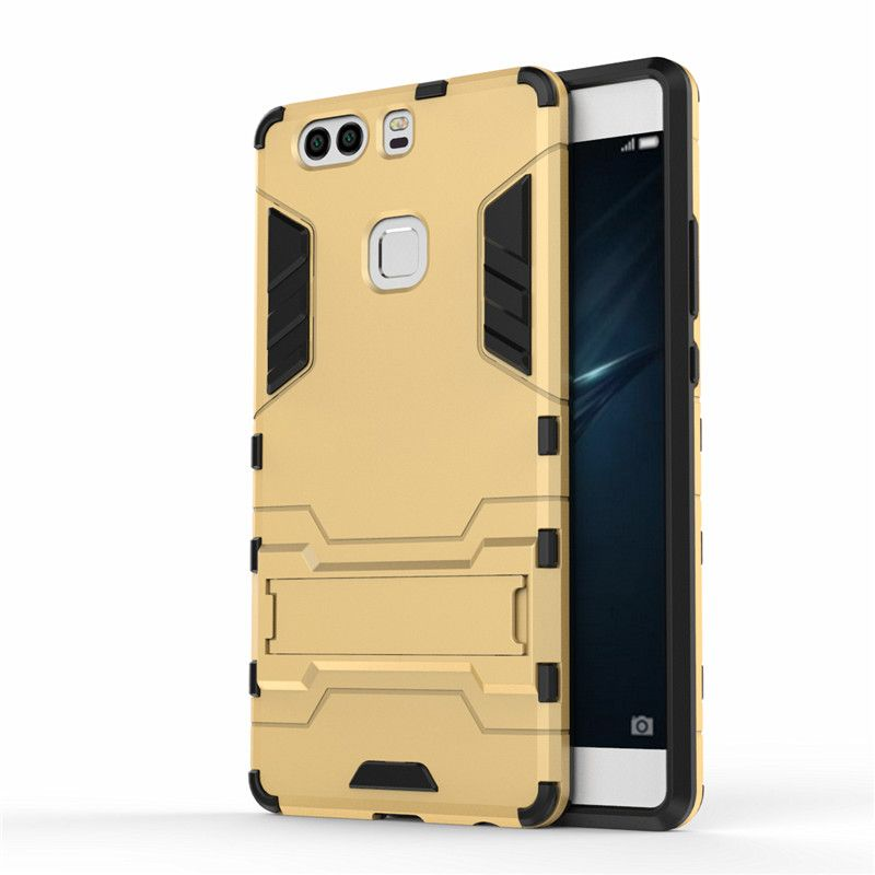 NEW Case for Huawei P9 Plus Back Cover Soft Silicon+Slim Plastic Kickstand Dual Hybrid Heavy Duty Armor Case for Huawei P9 Plus