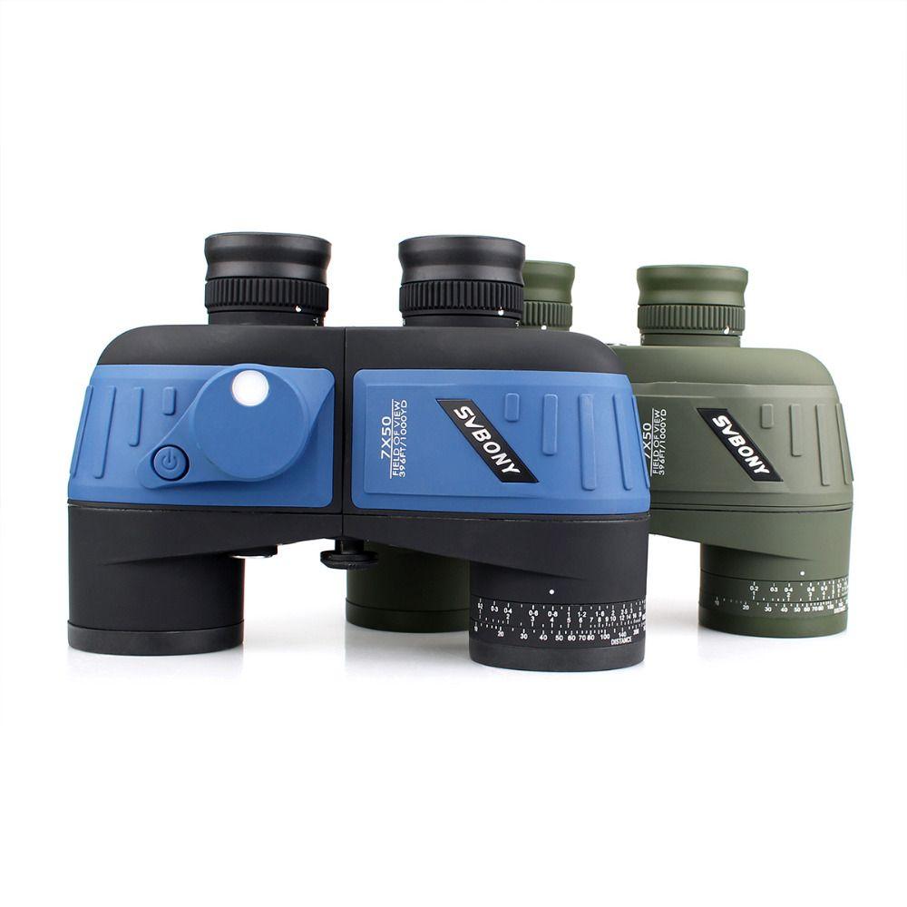 SVBONY Militär 7x50 Fernglas Wasserdicht Stickstoff Schwimm Power w/Interne Entfernungsmesser & Kompass Armee-grün Teleskop F9316