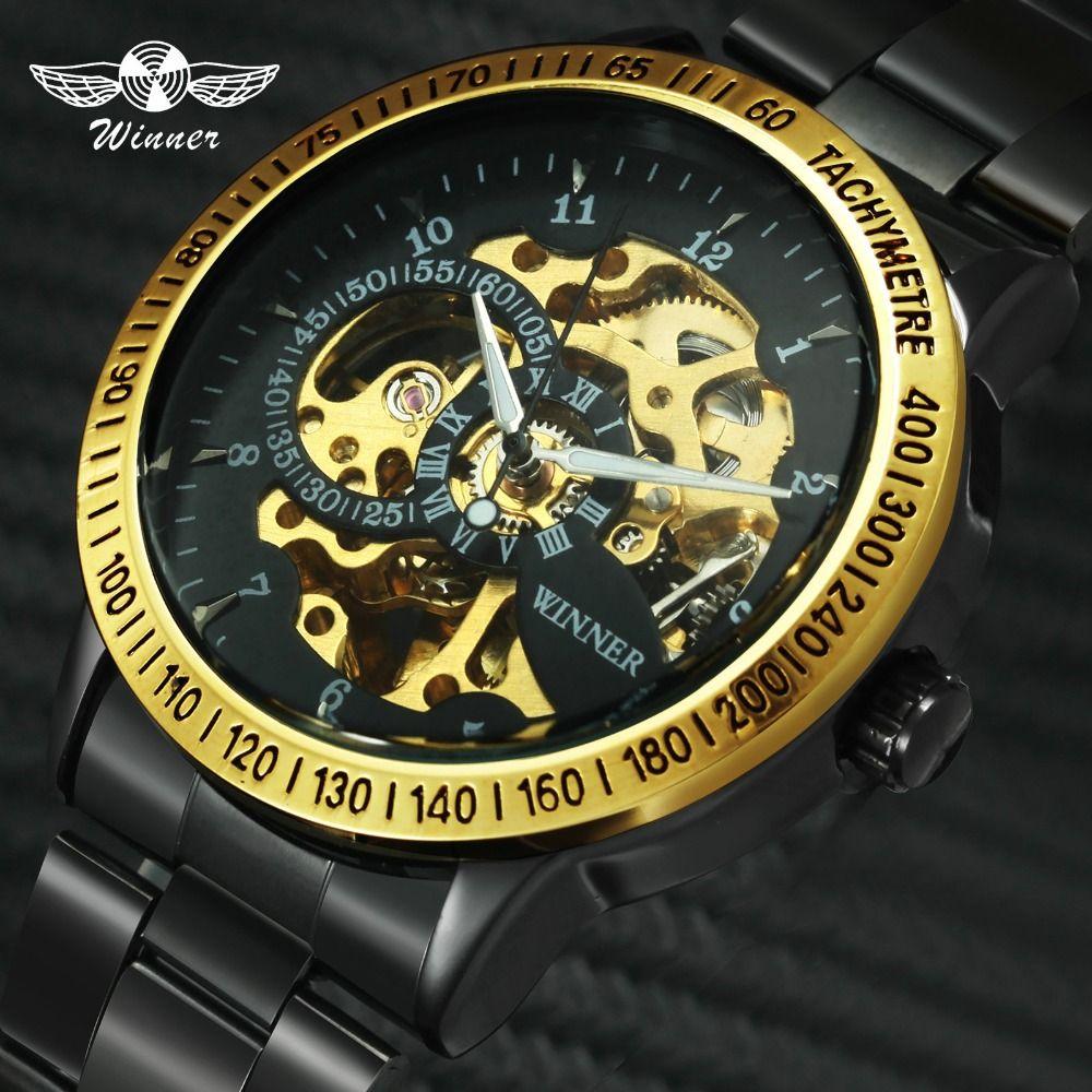 2019 nouveau gagnant de luxe Sport horloge hommes Montre automatique squelette militaire mécanique Montre Relogio Montre marque hommes Montre-bracelet