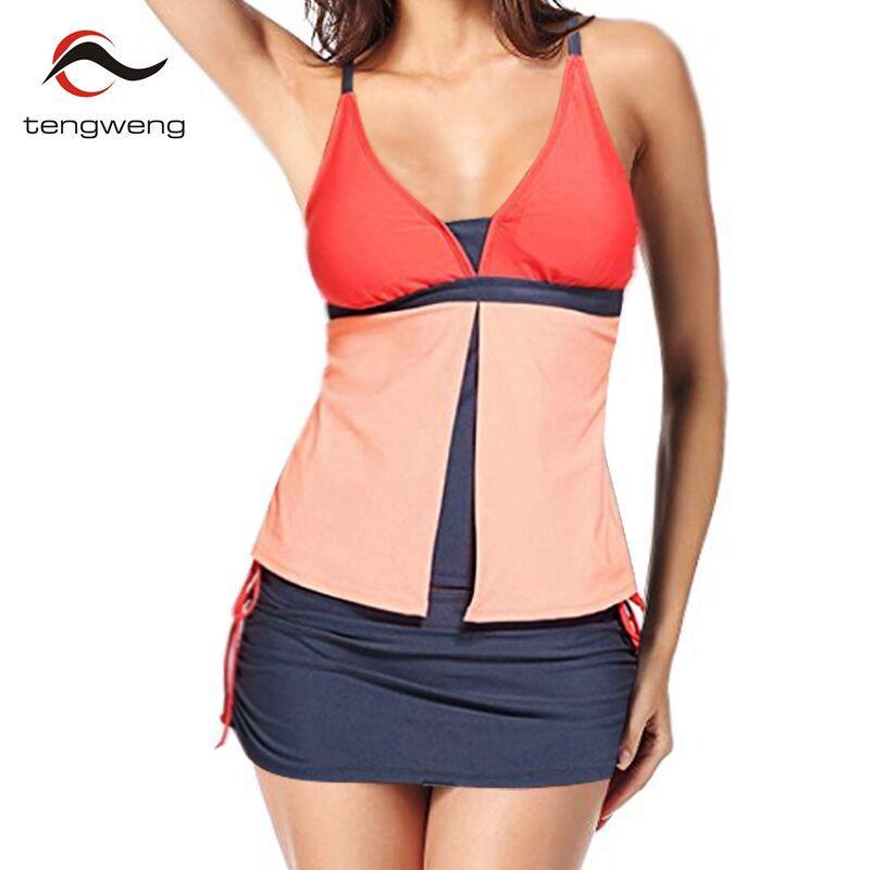 tengweng 2018 New Plus size Swimsuits Patchwork Female Bathing suit Monokini Shorts Two piece Tankini women Swim Skirt Beachwear